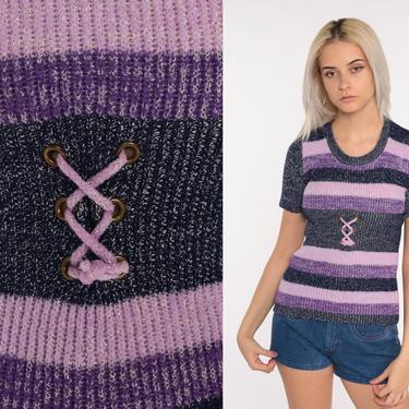 Knit Corset Shirt Short Sleeve Sweater Top 70s Purple Boho Lace Up Knit Shirt Space Dye 1970s Vintage Hipster Top Bohemian Small Medium by ShopExile