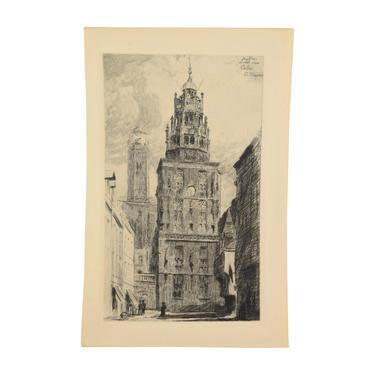 ARTHUR JULES MAYEUR Le beffroi et le vieux phare à Calais 1907 Etching by PrairielandArt