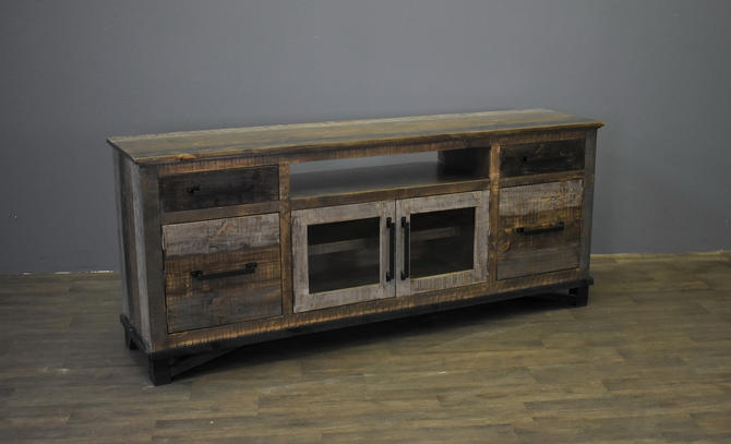 Farmhouse Rustic Solid wood 75 inch TV stand Media Consoe with 2-drawers 4-doors & Open Shelf by RusticShop1