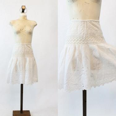 1910s edwardian shorts culottes xs   antique eyelet cotton bloomers by CrushVintage