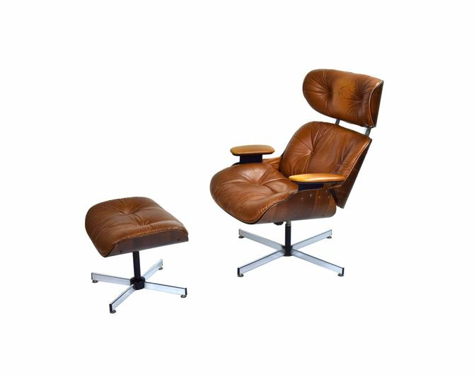 Vintage Mid-Century Modern Plycraft Eames Style Lounge Chair and Ottoman by PrairielandArt