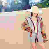 Joshua Tree Cardigan Sweater // vintage 70s knit hippie dress blouse hippy 1970s grey // S/M by FenixVintage