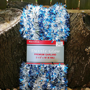 NEW Vintage Blue and Silver Tinsel Dazzle Glow Premium Decorative Christmas Tree Garland by RedsRustyRelics