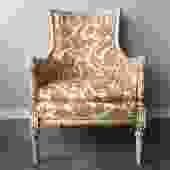 vintage orange floral high back chair.