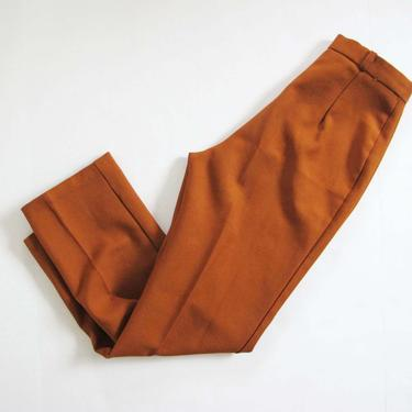 Vintage 60s Orange Brown High Waist Trousers 26 Waist - Polyester Cigarette Pants - 1960s Mod Clothing - Slim Skinny Leg by MILKTEETHS