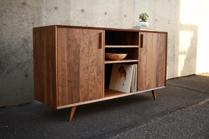 Biglione Console, LP Storage Cabinet, Vinyl LP Storage Sideboard, Mid-Century Record Console (Shown in Walnut) by TomfooleryWood