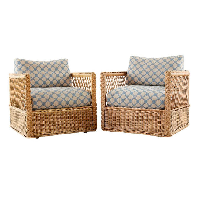 Pair of McGuire Rattan Wicker Lounge Chairs with Ottoman by ErinLaneEstate
