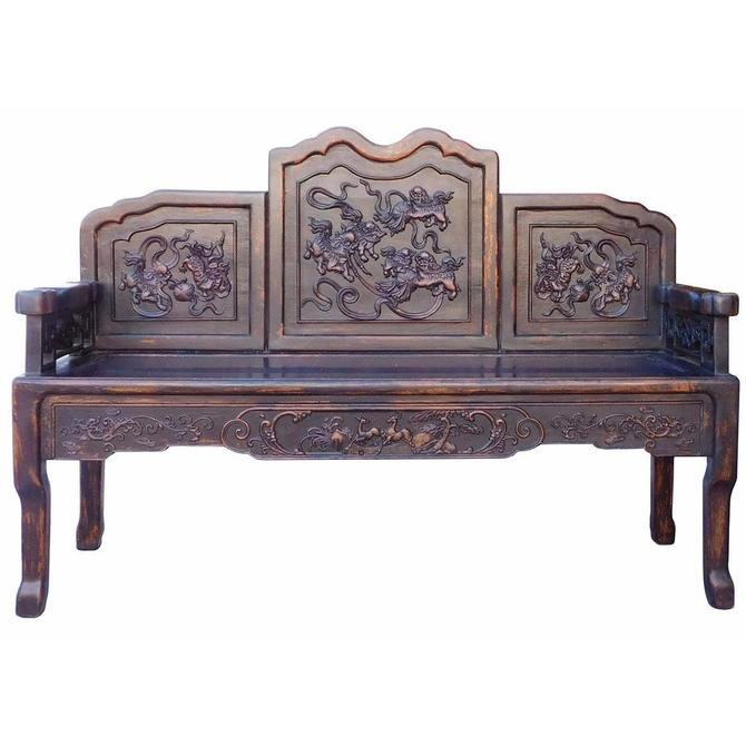 Chinese Distressed Brown Floral Foo Dogs Motif Double Seat Bench cs1995S