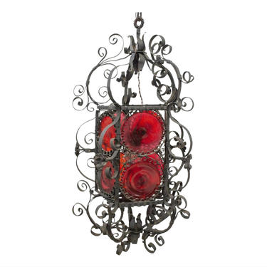 Antique Spanish Gothic Revival Forged Wrought Iron Scrolls & Red Bullseye Glass Hanging Lantern Early 20th Century - pendant lamp chandelier by LynxHollowAntiques