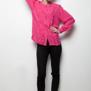 DVF top Diane Von Furstenberg sheer pink pleated fuschia long sleeves blouse vintage M MEDIUM by shoprabbithole