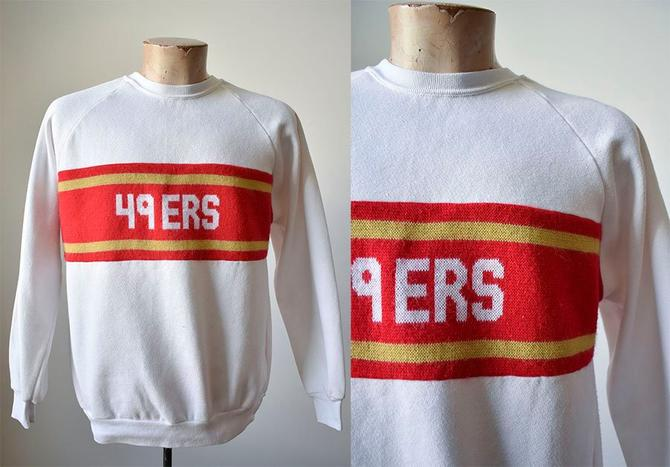 new style 56b36 d1b51 Vintage San Francisco 49ers Pullover Sweatshirt / Knit Striped Pullover /  Vintage 49ers / Vintage 49ers Crewneck Sweatshirt / Retro NFL by milkandice