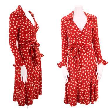 70s DVF wrap dress 6 / 1970s vintage red print Diane Von Furstenberg dot sash tie dress 1970s S-M by ritualvintage