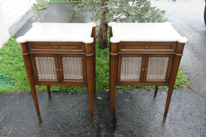 French Marble Top Pair of Tall Nightstands Side End Tables 1535
