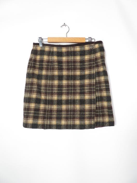 Vintage 90s Wool Blend Plaid Mini Wrap Skirt Size 6 29 Waist by VelvetCastleVintage