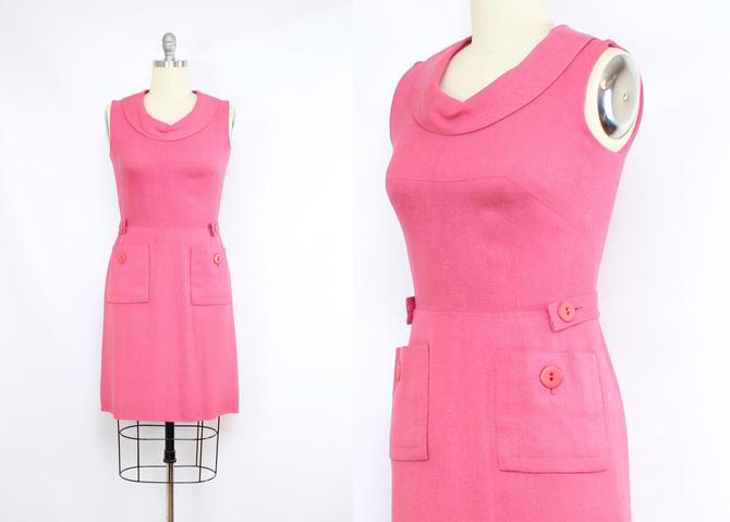Vintage 60's Pink Sheath Dress / 1990's Linen Blend Sleeveless Dress / Mad Men / Pockets / Women's Size Medium by RubyThreadsVintage