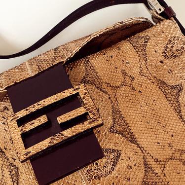 Vintage FENDI FF ZUCCA Monogram Leather Snakeskin Logo Shoulder Bag Purse by MoonStoneVintageLA