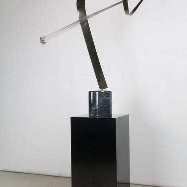 Curtis Jere Brass Spray Sculpture on Marble Base with Pedestal