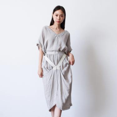 vintage 1980s issey miyake grey woven knit linen skirt set by blossomvintageshop