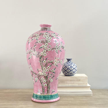 "18"" Tall Chinese Export Baluster Porcelain Vase Pink Glaze Prunus Branch Cherry Blossoms Design by ModRendition"