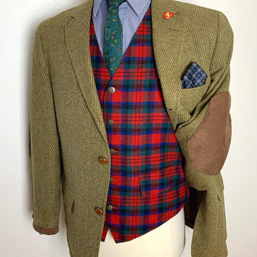 Vintage 1960s 100% Wool TWEED Blazer ~ size 38 S ~ jacket / sack sport coat ~ Preppy / Ivy Style / Trad ~ Elbow Patches by SparrowsAndWolves