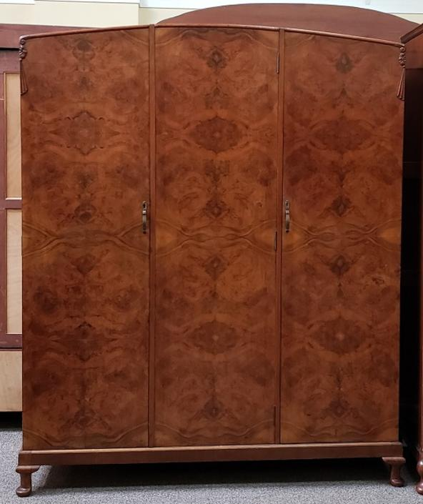 Item #S19 Burl Walnut Triple Door Armoire c.1930s