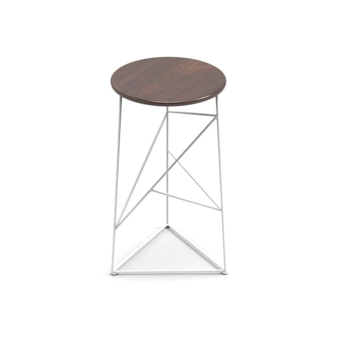 Stool,  Modern Steel Bar Stool in a White Finish with Solid Walnut Seat by JumpFurniture