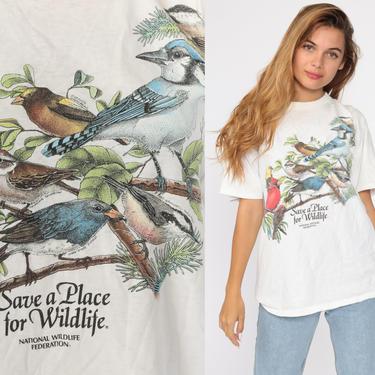 Bird Shirt 90s National Wildlife Federation TShirt Vintage Retro T Shirt Graphic Tee Wilderness Screen Print 1990s t shirt Medium by ShopExile