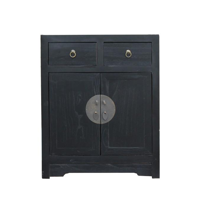 Black Lacquer Moonface End Table Nightstand Cabinet cs4327S