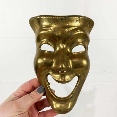 True Vintage Brass Theater Face Mask Comedy Tragedy Smile Now Cry Later Decor Accents Wall Plaque Sculpture MCM Mid-Century Happy Sad by CheckEngineVintage