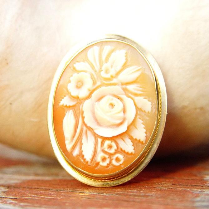 Vintage 14K Gold Flower Cameo Pendant/Brooch, Classic Relief Cameo, Caved Pink & White Shell, Yellow Gold Frame, Flora Motifs, by shopGoodsVintage