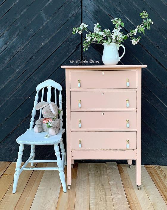 Petite Farmhouse Dresser / Bureau / Chest of Drawers / Antique / Nursery / Blush Pink / Cottage by VivAndVioletsDesigns