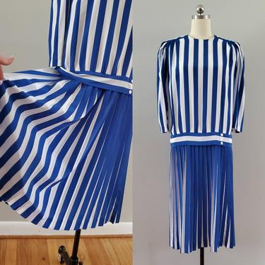 1980s Does 1920s Drop Waist Dress in Blue and White Stripes 20s Party Dress 80's Women's Vintage Size Large by HeySailorNiceVintage