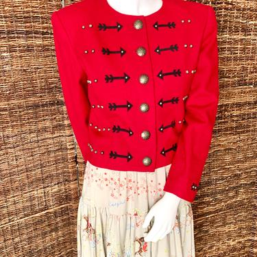 Red Wool Cropped Jacket, Blazer, Metal Buttons, Cowgirl Ranch Chic, Made in Texas by GabAboutVintage
