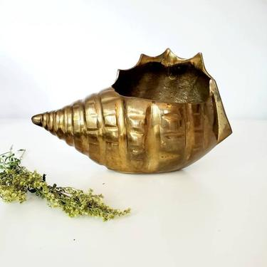 Vintage Brass Conch Shell Planter by pennyportland