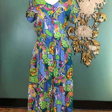 1980s adini dress, smocked waist, vintage 80s dress, novelty print dress, lady and fruit, size large, cotton rayon crinkle, blouson dress by BlackLabelVintageWA