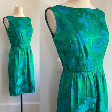 Vintage 50's Floral SILK SATIN COCKTAIL Wiggle Dress / Stunning IRRiDESCENT Brocade / Hourglass / S by CharmVintageBoutique