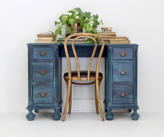 SOLD SOLD Blue Bohemian Kids Vintage Vanity Desk- Boho Knee Hole Desk for Bedroom Office Studio by GreenSpruceDesigns