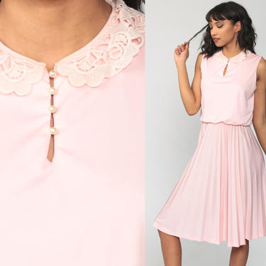 Baby Pink Dress Lace Collar Pleated Dress 70s Midi Boho Blouson High Waist Grecian 1970s Secretary Vintage Bohemian Sleeveless Small by ShopExile