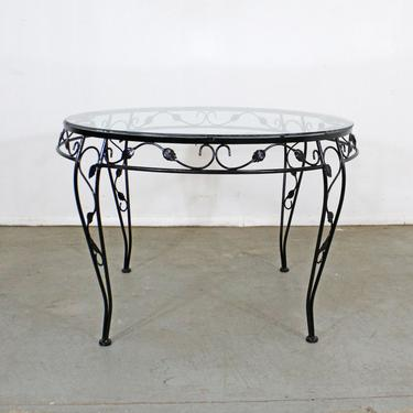 Vintage Wrought Iron Meadowcraft Iron Outdoor Patio Round Dining Table by AnnexMarketplace