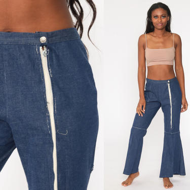 Chambray Bell Bottoms Pants 70s Trousers Flared Blue Cotton Hippie Boho Wide Leg High Waisted Pants Bellbottom 1970s Vintage Large 32 by ShopExile