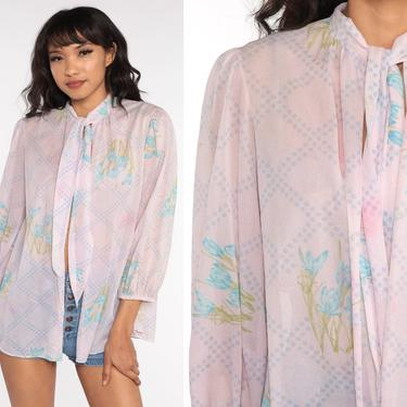 Floral Ascot Blouse SHEER Pink Top 70s Neck Tie Open Front Pastel Baby Pink Vintage Bow Long Puff Sleeve Vintage Romantic Medium by ShopExile