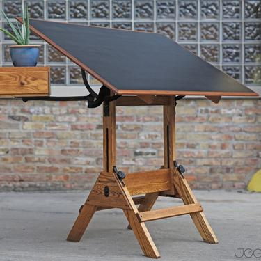 restored vintage drafting table by Hamilton Mfg., scalable standing or sitting desk with a swing-out drawer by jeglova