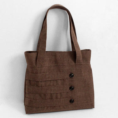 Medium Tote Bag with Decorative Straps in Brown Suiting by WhitneyJude