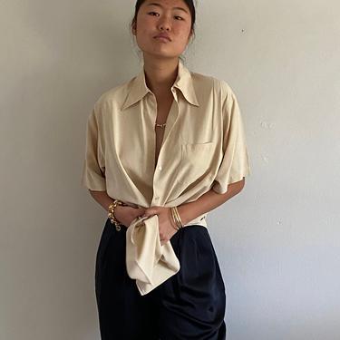 90s silk blouse / vintage oatmeal bone oversized brushed silk button down short sleeve pocket shirt blouse   L by RecapVintageStudio
