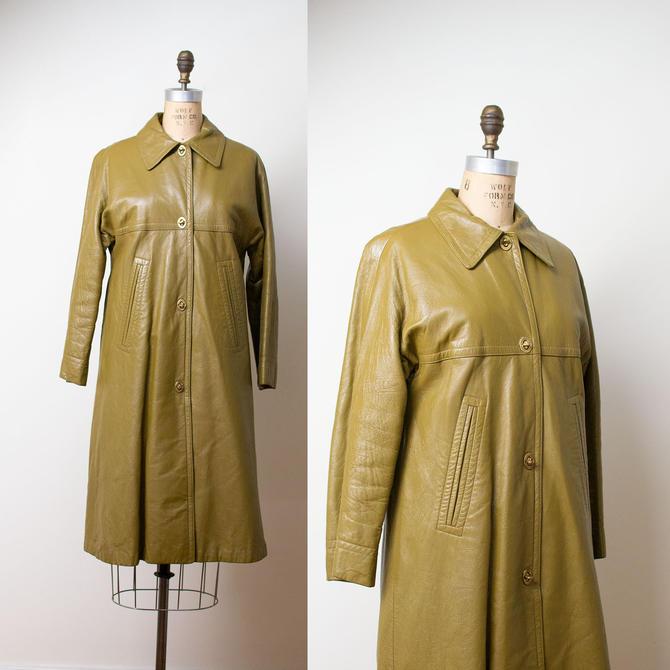 1970s Bonnie Cashin Coat / Olive Leather Coat by FemaleHysteria