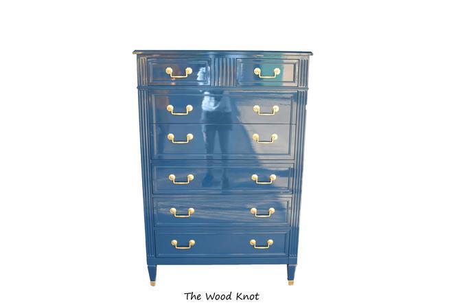 High Gloss Blue and gold highboy dresser