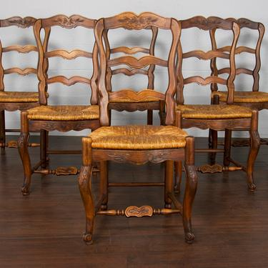 Antique Set of 6 Country French Provincial Louis XV Ladder Back Oak Dining Chairs by StandOutSpaces