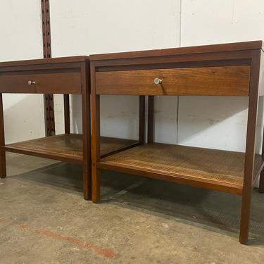 Beautiful Paul Mccobb for Lane rosewood pair of nightstands side lamp tables with lower cane shelf stunning by symmetrymodern