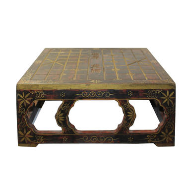 Distressed Brown Lacquer Chinese Chess Board Top Wood Stand Display cs5652E by GoldenLotusAntiques