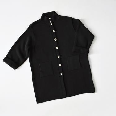 vintage black cotton knit cardigan, long button front sweater, size L / XL by ImprovGoods